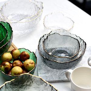 Japanese iceberg glass bowl Phnom Penh transparent salad bowl fruit soup dessert snack food mixing bowl tea wash large