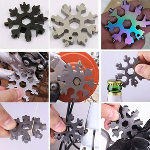 18 In 1 Snowflake Multi Camp Key Ring Outdoor Spanner Hex Tool Wrench Multipurpose Pocket Survive Multifunction Keyrin
