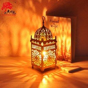 유럽 모로코 지중해 골드 아이언 촛대 바람 램프 중동 가스트 스타일 홈 인테리어 캔들 스탠드 랜턴 금속 홀더