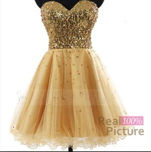 Gold A Line Homecoming Dresses Sequins Top Lace Up Back Graduation Party Gowns Short Prom Cocktail Vestidos