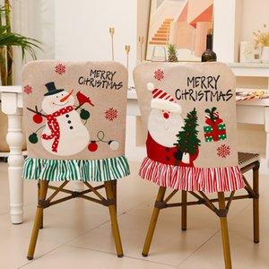 Рождественские украшения стул крышка задняя чехол снеговик оленей в лобке столовые посуды украшения вечеринка предпочтения рождественские принадлежности YFA3052