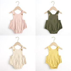 Baby Macacão Kids Sling Jumpsuits Meninas Sólidas Listrado Macacão Infantil Suspender Casual Bodysuits Algodão Infantil Escalada Suites Onesies 343 K2