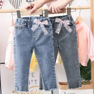 Jeans 1-6Y For Girls Elegant Bow Cute Denim Pants Sweet Bowknot Stretch Lovely Spring Child Trousers Toddler Kid Baby