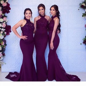 2021 Grape Mermaid Bridesmaid Dresses High Neck Lace Appliques Sweep Train Formal Evening Gowns wedding Guest Wear Plus Size