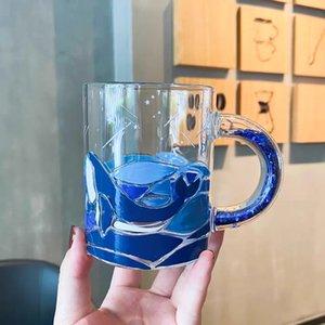 Tasse de café fleur de poire vitrage océan poisson tasse tassale d'épanouissement de la fleur de cerisier