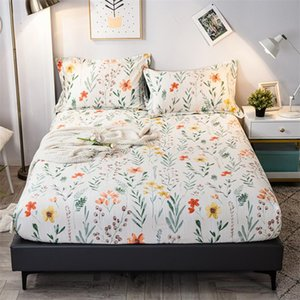 Sheets & Sets 100% Pure Cotton Fitted Sheet Fashion Flower Printed Bed Mattress Cover With Elastic Band Soft Bedclothes (No Case)