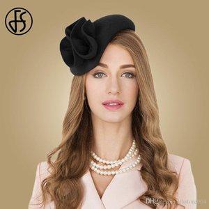 2020 FS Bayanlar Yün Fascinator Şapkalar Düğün Kadınlar için Zarif Çay Partisi Örgün Vintage Pillbox Hatfelt Çiçek Fedoras Chapeau Femme