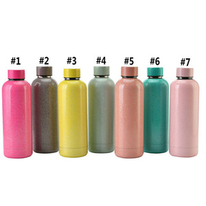 17oz Flask Sports Water Bottle Double Walled Stainless Steel Vacuum Insulated Mugs Travel Thermos Custom Glitter Colors Sea Shipping WWA261