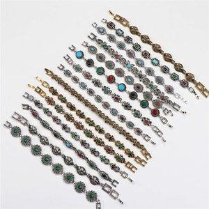Wholesale 10pcs lots Bulk Vintage Metal Bohemian Ethnic Crystal Charm Bracelet For Women Party Gift Mix Style