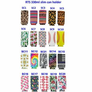 Slim Beverage Beer Cooler Insulators Kitchen Tools Neoprene Collapsible Cola Bottle Koozies Cactus Leopard Can Sleeve CYZ3014