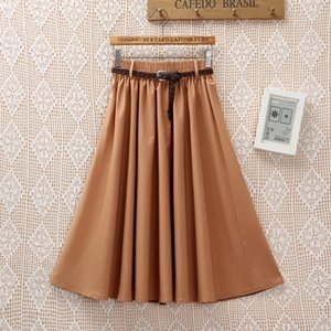 Skirts Solid Color Women Pleated Retro High Waist Elastic Swing A-Line Classic Female Mid-Calf With Belt