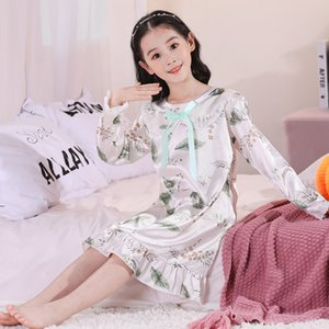 Nuovo Wavmit 2020 Girl Panno Panno 3D Stampa autunno Sleepdress Girls Manica lunga Seta Sleepwear Dress Bambini Party Princess NightGown Home
