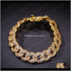 Hip Hop 18K Yellow Gold Plated Cuban Link Bracelets Iced Out Micro Pave Cz Bling Bracelet Men Jewlery Ouxhp Yyjnz