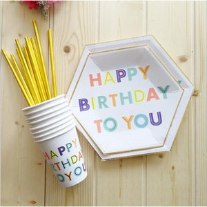 Packaging Dinner Service Happy Birthday Series Disposable Tableware Gilding Paper Straws Napkin Cup Plate For Kids Party Decoration
