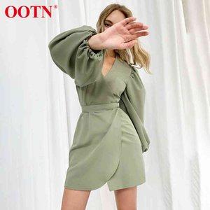Фиолетовая асимметрия мини-платья туника высокая талия дамы элегантные сексуальные V шеи фонарик с длинным рукавом зеленые платья женская мода