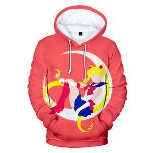Dholycrown mulheres homens harajuku camisolas impressão marinheiro moon 3d hoodies mulheres / menina preta
