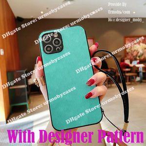 Cas de téléphone concepteur pour iPhone 12 11 PRO XR XS MAX 8PLUS avec couvre-lanière à lanière courte Couvercle de protection en cuir imprimé G