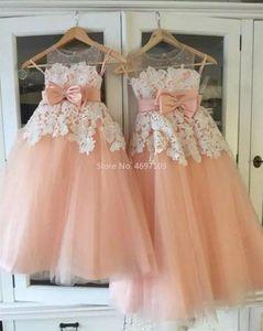 소녀의 드레스 핑크와 화이트 레이스 꽃 소녀 드레스 결혼식 파티 첫 번째 미인 communion 치마 Vestidos Primera Comunion 파라 니나스