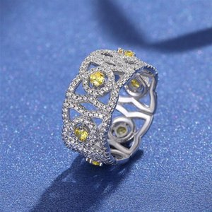 2021 Top Selling Choucong Wedding Rings Original Luxury Jewelry Real 925 Sterling Silver Yellow Topaz CZ Diamond Lace Eternity Women Engagement Band Ring Gift