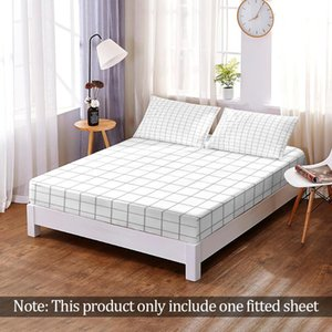 Sheets & Sets Polyester Simplicity Checkered Fitted Sheet Bedspreads Non-Slip Mattress Cover Solid Color Bed Multicolor