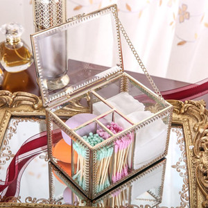 Bathroom Storage & Organization Makeup Organizer Box Retro Glass Non-acrylic Cotton Pad Transparent Dressing Table Desktop Swab