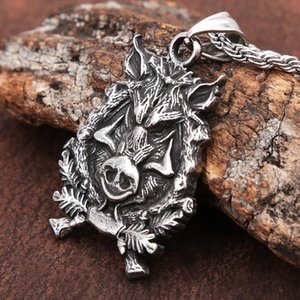 Chains Fashion Stainless Steel Wild Boar Necklace Pendant For Men Punk Animal Viking Amulet Vintage Nordic Accessories