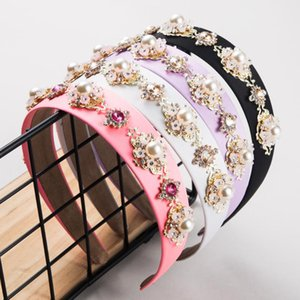 Estilo noble barroco con la banda de pelo de la perla Flower Flower Wide Sperf Flash Bridal Ornament CN (Origin) Clips Barrettes