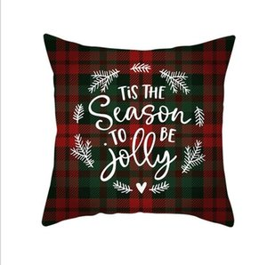 Red Plaid Elk Throw Pillow Case Square Sofa Pillowcase Plaid Printing Couch Cushion Cover Christmas Decor AHE5423