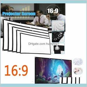 "Portable 60 ""- 150"" Projektor LED-Projektionsfenster 16: 9 3D HD HD Home Kinofilme im Freien Theater faltbar weiß für Wandmontage 35WE Rugv5"