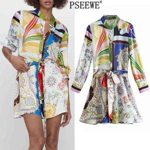 Pseewe vestido de primavera za impresión mini camisa vestido mujer vintage cinturón manga larga vestidos cortos mujer botón encima de vestidos casuales 210325
