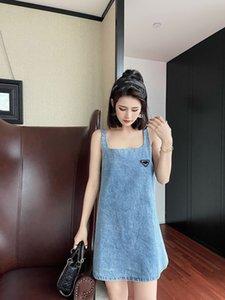 Мода джинсовые платья без рукавов наборы повторно нейлоновый стиль футущие юбки талии, уступая дизайн шарикового платья подвеска MIDI платья с перевернутым треугольником