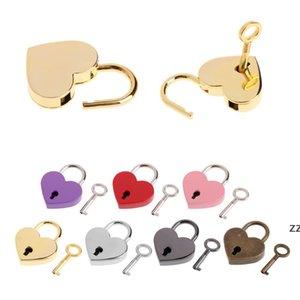 7 цветов формы сердца Padlocks старинные аппаратные замки миниархиизовые ключей замок с ключом путешествовать сумка чемодан Padlock 30 * 39 мм HWF8944