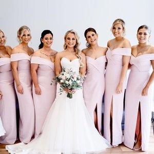 2019 Elegant Off The Shoulder Satin Mermaid Long Bridesmaid Dresses Ruched Split Sweep Train Wedding Guest Maid Of Honor Dresses