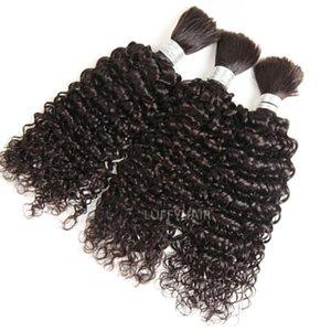Человеческие грузовые материалы для волос Перуанская странная вьющиеся вьющиеся навалом для женщин Remy Расширения 1 3 шт. / Лот красочный 1 # / 2 # / 4 #