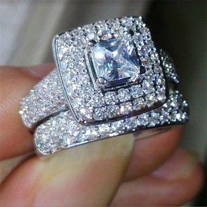 Vecalon 188pcs Topaze Simulé Diamant CZ 14kt Bague de mariage en or blanc rempli de 3 en 1 pour femmes SZ-11 40 U2