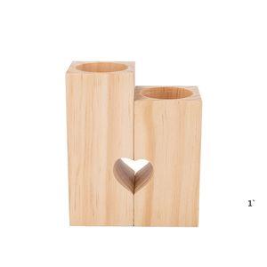 الشاي الخشبي ضوء شمعة حامل القلب مجوفة خارج الشمعدان الرومانسية الجدول الديكور للمنزل حفل زفاف الديكور OWB5941