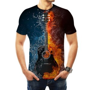 t shirt 3D digital print ice music guitar loose round neck short sleeve for men