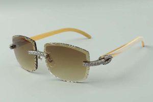 2021 designers sunglasses 3524023 XL diamonds cuts lens natural white buffalo horn temples glasses, size: 58-18-140mm