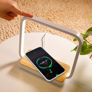Table Lamps Touch Brightness Eye Protection Lamp With Mobile Phone QI Wireless Charge Reading Sleeping Bedroom Bedside LED Night Light