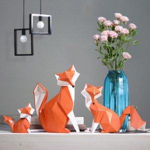 Северная современная абстрактная геометрическая лиса ремесел простая смола фигурка животных творческий офис настольных орнаментов украшения дома