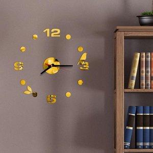 ساعات الحائط فرملس diy ساعة أرقام عربية لاصق الحديثة الفن الصامت 3d أكريليك ملصقا ديكورات المنزل للمعيشة روا