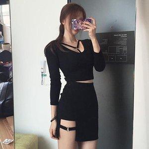 Skirts Sexy Women Irregular Cotton High Waist Bandage Skirt Mini Bodycon Short Black Solid Slim Clubwear Harajuku Fashion