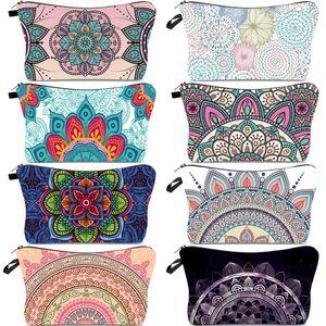 Wholesale Cartoon Cosmetic Bags Mandala Flower Sloths Printing Patterns Toiletry Pouch Portable Waterproof Zipper Travel Makeup Organizer