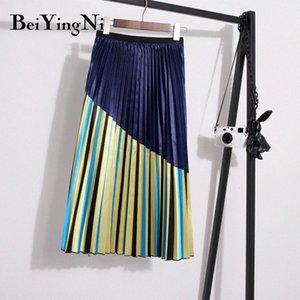 Beiyingni Europen Mid-Calf Skirt Womens Striped Casual Korean Pleated Office Ladies Skirts High Street Christmas Saia New-Coming W3xF#