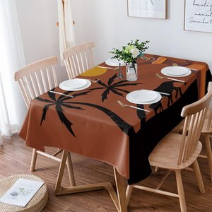 Table Cloth African Women Sunset Landscape Elephant Wedding Waterproof Oilproof Dining Cover Kitchen Home Decor Tablecloth