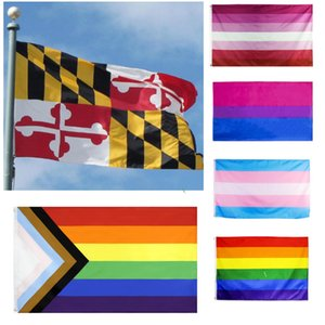 Maryland State Flag MD 3x5FT Rainbow Transgender Gay Pride lesbian bisexual LGBT Banner Flags Polyester Brass Grommets Custom HH21-171