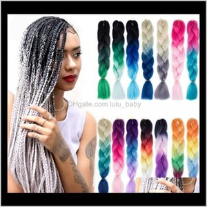 Zf Jumbo Braid Ombre Two Three 24 Inch 100G Mixed Black People Fashion Sythetic Hnkpd Bulks Bhrvk