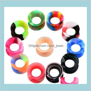 11 Pair Per Lot Mix Color Silicone Ear Tunnels Man Womans Earlets Gauges Fashion Body Piercing Jewelry Flesh Tunnels High Quality Ear K68Jk
