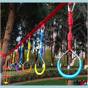 Kids Outdoor Rings Gymnastic Ring Swing Adjustable Colorful Backyard Durable For Ninja Obstacle Course Kit Camping Toys Gi Cvssw