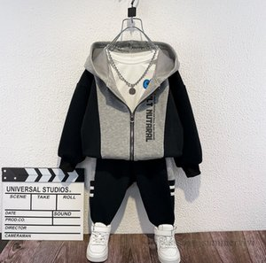 Boys sports sets kids letter printed patchwork color hooded long sleeve jacket+loose pants 2pcs autumn children casual outfits Q2265